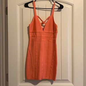 Coral mini dress from BeBe